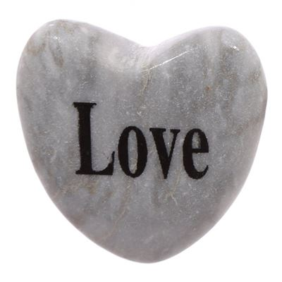 Love Heart Shaped Message Stone Magnet in Drawstring Pouch