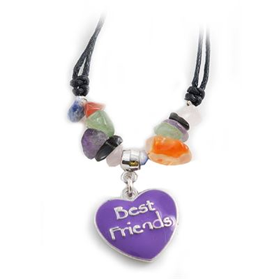 Best Friends Heart & Gemstone Necklace