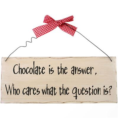 Chocolate Is The Answer… Shabby Plaque