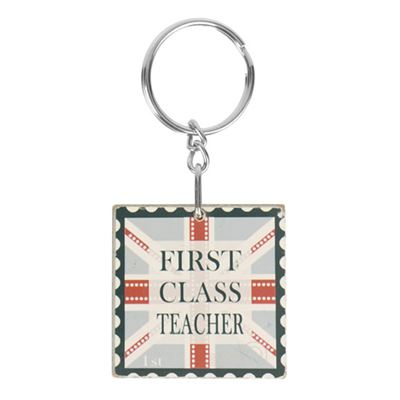 First Class Teacher Wooden Keyring