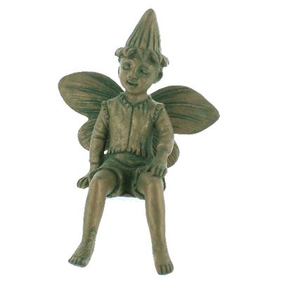 Sitting Garden Fairy Boy Weathered Green