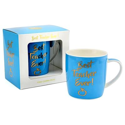 Best Teacher Ever Blue Mug in Gift Box