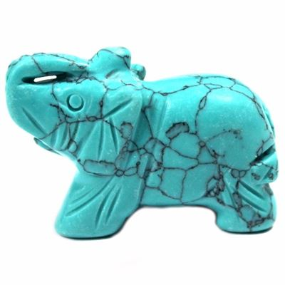 Turquoise Howlite Handcrafted Elephant in Gift Pouch